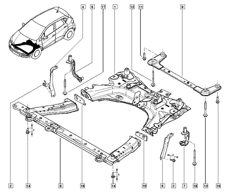 Captur, J5A2, Manual, 31 Front bearing elements / Front