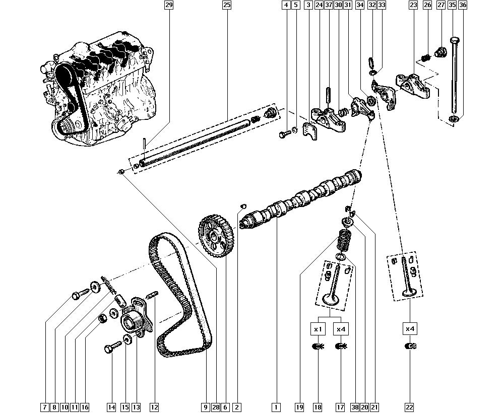 Espace I, J117, Manual, 11 Upper engine / Valve timing