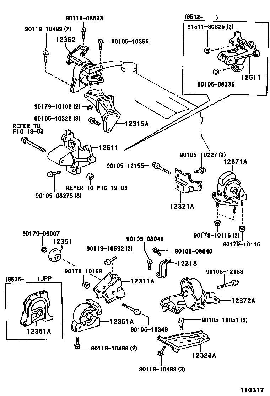 Toyota Corolla Engine Insulator Diagram Mounts