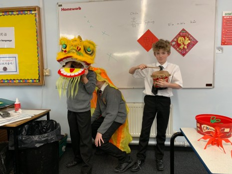 Brune Park school's Year 7 MEP students are performing the Lion Dance