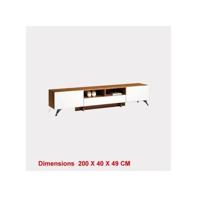 meuble tv blanc dimensions 200 x 40 x 49 cm