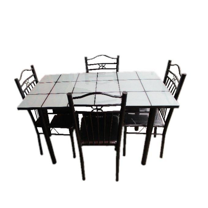 table a manger 4 chaises transparent noir blanc