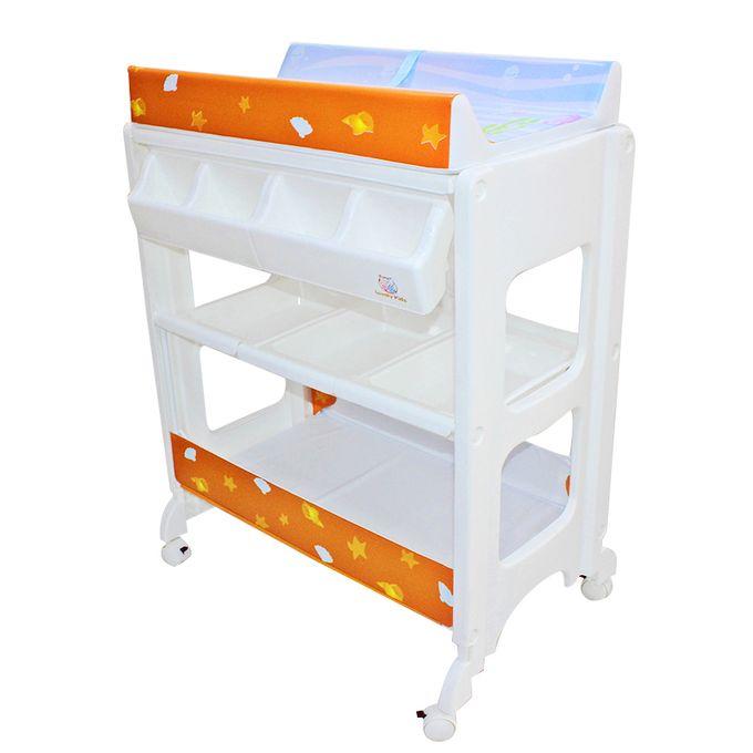 baignoire haute table a langer blanc orange