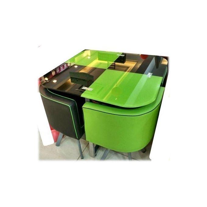 table avec 4 chaises encastrables vert noir
