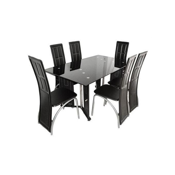 table a manger 6 places en verre noir et simili cuir noir