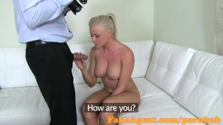 FakeAgent Hot blonde gets sprayed with Jizz in Casting interview