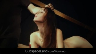 Restrained slave hot waxed and than rubbed with a spiny brush in bondage