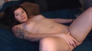 Very Flexible Shemale Munching on Her Own Dick on Webcam