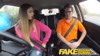 Fake Driving School full scene - Hot Italian learner with big natural tits