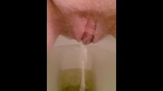 Hairy pussy pee in toilet