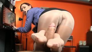 Secretary Keeps Her Job By Giving Boss A Footjob