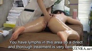 Subtitled JAV lesbian massage clinic prone treatment