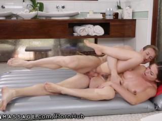 NuruMassage Melissa Moore Shower Sex with Older Mechanic