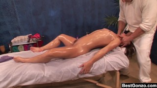 BestGonzo - Teen is slippery wet after erotic oil massage.