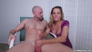 Busty milf makes a cock explode