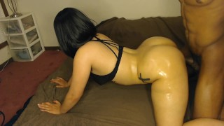 Big booty white girl w/ black hair gets smashed doggy style in black bra!