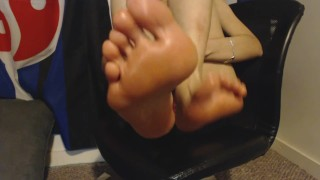 Massaging my Bare Feet and Painted Toes with Massage Oil after Work