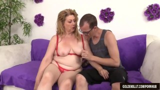 Mature Harlot Penny Sue Fucks a Guy and Takes His Cum in Her Grinning Face