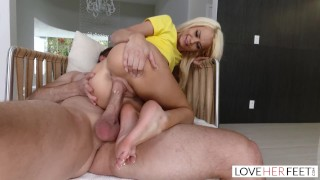 LoveHerFeet - Stunning Young Blonde Stepdaughter Gives a Hot Foot Fuck