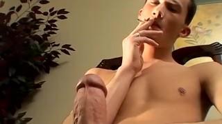 Homosexual smoking freak strokes raging cock and cums
