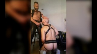 Leather fuck duo oral and anal rough sex