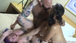 Real kinky couple get to tag-team a young goth slut in fun, rough threesome