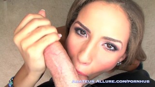 Teen Beauty w/ Big Mouth Strips Down Gives Blowjob Fucks and Jerks out Cum