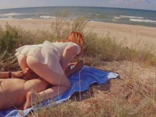 INTERRUPTED SEX on PUBLIC BEACH | Risky Outdoor Creampie Hairy Ginger Pussy