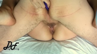 Vibrator in his ass during fucking, sex with Greek milf ~DirtyFamily~