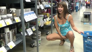 Flashing pussy and ass in a sports store