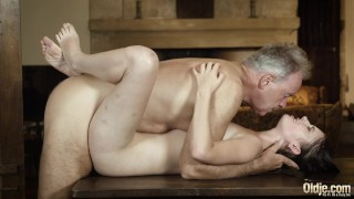 Old english teacher fucks his young student and gets deepthroat blowjob