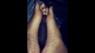 Caramel Feet Gives Delicious Chocolate Dick Some Sweet Footjob Action