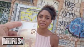 MOFOS - Ebony tourist takes some local dick for money