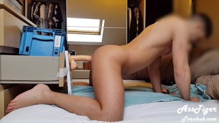 Riding my 2 dildos doggystyle and moaning - Homemade