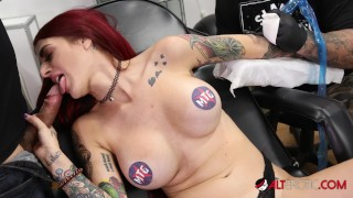 Tattoo Session Turns Naughty With Red Head Tana Lea Mouth & Pussy Fuck