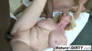Those Tits Video - Two blonde grannies have an interracial foursome