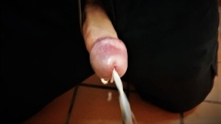 Vibrator Makes My Cock Explode Cum In Public Toilet