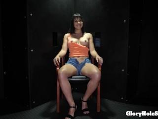 NEW Teen sucks all the cocks in the gloryhole