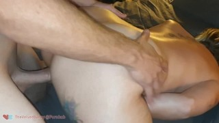 Sucking hubby's cock as fuckbuddy pounds me and cums inside my pussy