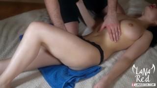 Teen Oil Massage with Cum Hard Closeup