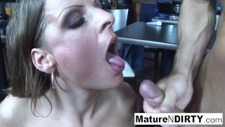 Dirty blonde MILF gets fucked in a restaurant