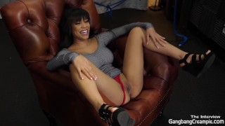 Getting to know Gia Milana before her first Gangbang Creampie
