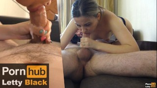 Amateur Wild Blowjob with Big Load of Cum in Mouth - Splitscreen