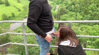 risky public blowjob and doggy on the skywalk - almost got caught!