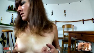 Cute mature arab brunette Samia Christal dancing and stripping live