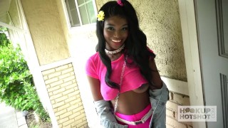Ebony teen fuckdoll Kandie Monae gets smashed rough by Hookup Hotshot