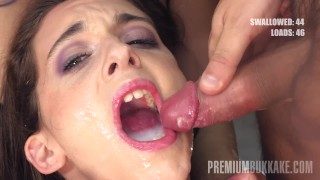 Premium Bukkake - Anita Teen swallows 92 big mouthful cumshots