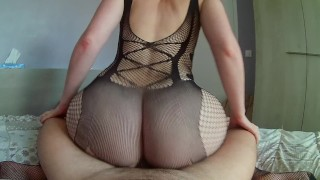She puts her sexy lingerie to overlap her boyfriend with her fat ass !