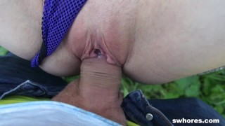 Cheap Ass Whore Fucked Bareback on the Side of the Road!