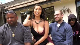 Busty Asian Sharon Lee Fucks Her Cuckold Husband's Pals